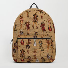 Vintage tattoo pinup, rockabilly pin up girls Backpack