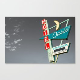Oasis Motel Vintage Neon Sign - Route 66 Icon - Tulsa Oklahoma Canvas Print