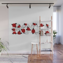 Rock of Red Roses Wall Mural