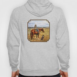 Young Cowgirl on Cattle Horse Hoody