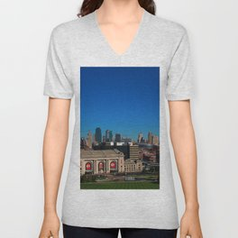 Union Station and Kansas City Skyline Unisex V-Neck