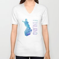 finland V-neck T-shirts featuring Finland by Stephanie Wittenburg
