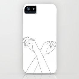 Crossed hands line drawing - Edie iPhone Case