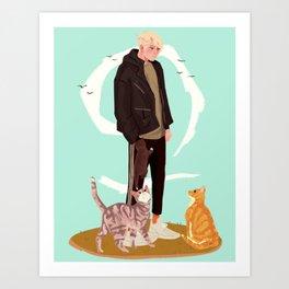 Andew Minyard and his cat friends Art Print