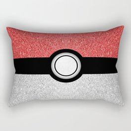 Sparkly red and silver sparkles poke ball Rectangular Pillow