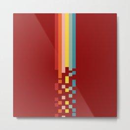 Classic Colorful Retro Rainbow Stripes Pixel Drops - Aikichi Metal Print