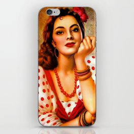 Mexican Sevillana Calendar Girl by Jesus Helguera iPhone Skin