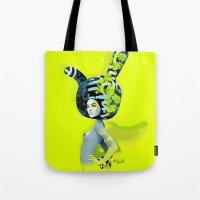 bunny Tote Bags featuring bunny by el brujo