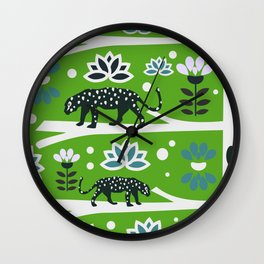 Wild felines and flowers Wall Clock