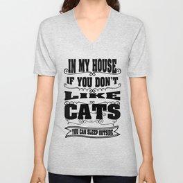 like  cats - Funny Cat Saying Unisex V-Neck