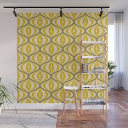 Retro Mid-Century Saucer Pattern in Yellow, Gray, Cream Wall Mural