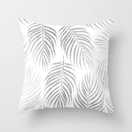 Chic elegant silver foil palm tree leaves Throw Pillow