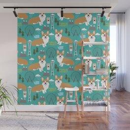 Corgi seattle washington welsh corgi pattern print dog lover gifts space needle ferris wheel coffee Wall Mural