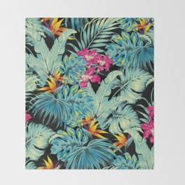 Tropical Greenery Island Dreams Throw Blanket