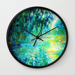 Claude Monet Morning on the Seine Wall Clock