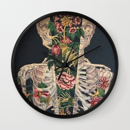 Skeleton of flowers Wall Clock