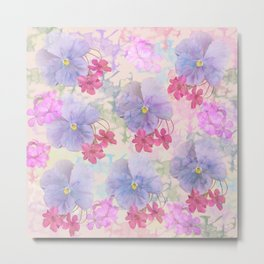 Painterly purple pansies and pink Oxalis Metal Print
