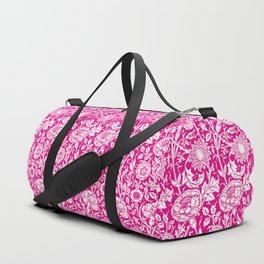"William Morris Floral Pattern | ""Pink and Rose"" in Hot Pink and White Duffle Bag"