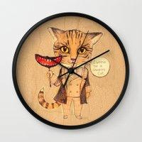 cheshire cat Wall Clocks featuring Cheshire Cat by baba yagada