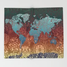 world map mandala vintage Throw Blanket