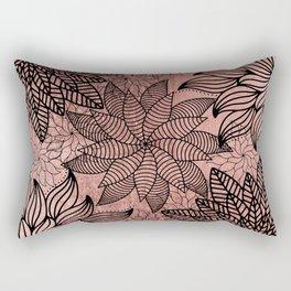 Modern black faux rose gold hand painted floral mandala Rectangular Pillow