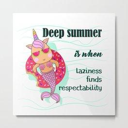 Swimming Unicorn Mermaid Metal Print