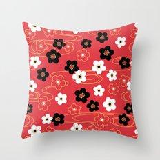 Red Sakura Kimono Pattern Throw Pillow