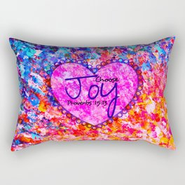 CHOOSE JOY Christian Art Abstract Painting Typography Happy Colorful Splash Heart Proverbs Scripture Rectangular Pillow