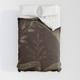 "Leonardo Da Vinci ""Wreath of Laurel, Palm, and Juniper with a Scroll inscribed Virtutem Forma Decor"" Comforters"