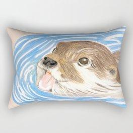 Otter in water Rectangular Pillow
