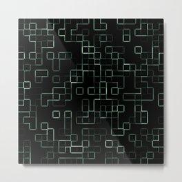 Green neon mosaic technology pattern Metal Print