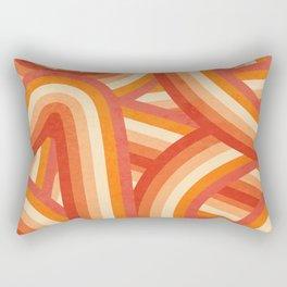 Red, Orange and Cream 70's Style Rainbow Stripes Rectangular Pillow