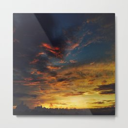 Blue And Yellow Sky By The Sunset Metal Print