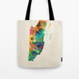 Belize Watercolor Map Tote Bag