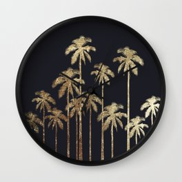 Glamorous Gold Tropical Palm Trees on Black Wall Clock