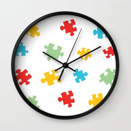 Puzzle Pieces Pattern Wall Clock