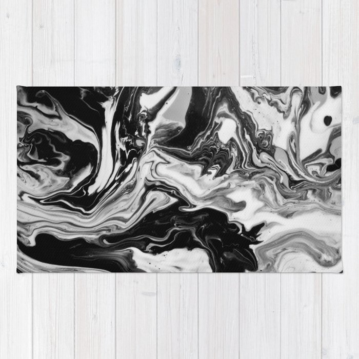 Black and White Marble  Rug