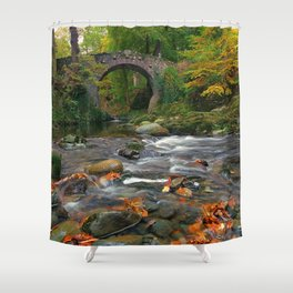 Small Arched Stone Bridge Across Small Stream In Idyllic Greenery Ultra HD Shower Curtain