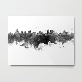Winnipeg skyline in black watercolor Metal Print
