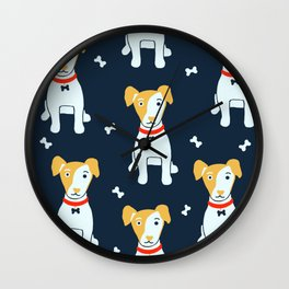 Jack Russell terrier - blue  Wall Clock