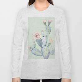 Prettiest Mint Cactus Rose Long Sleeve T-shirt