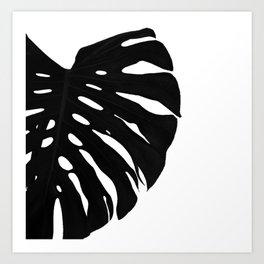 Black Banana Leaf (Black and White) Art Print