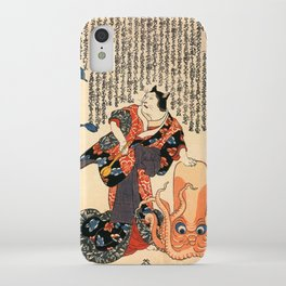 A Cat dressed as a Woman tapping the Head of an Octopus by Utagawa Kuniyoshi iPhone Case