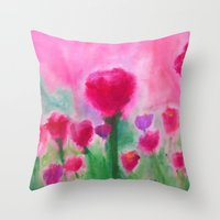 beth hoeckel Throw Pillows featuring Marjean's Garden, ©Beth Slater Winnick by Beth Slater Winnick