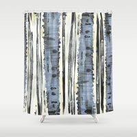 birch Shower Curtains featuring Birch by Sand Salt Moon