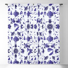 Blue Flower Bohoo Pattern Blackout Curtain