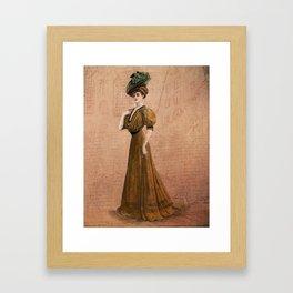 Woman in yellow dress Edwardian Era in Fashion Framed Art Print