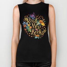 Read More Books - Black Floral Gold Biker Tank