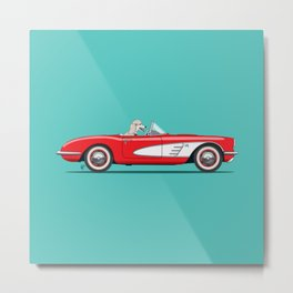 Betty the Poodle dog driving her red car Metal Print