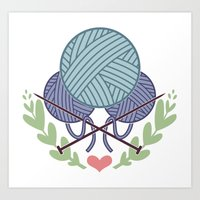 knitting Art Prints featuring Knitting by boots